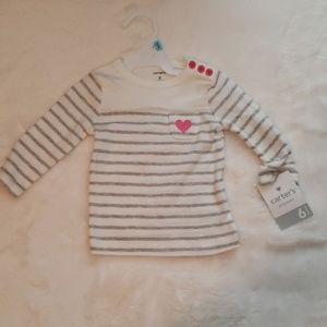 Carter's White and Gray Long Sleeve Playwear